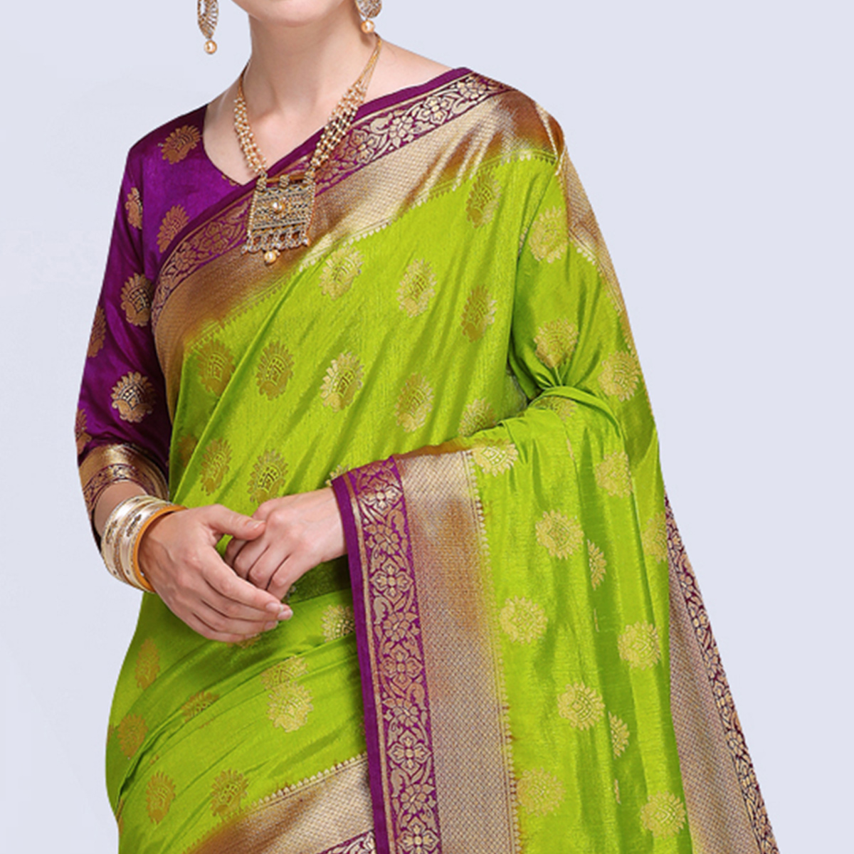 Excellent Light Green Colored Festive Wear Silk Saree