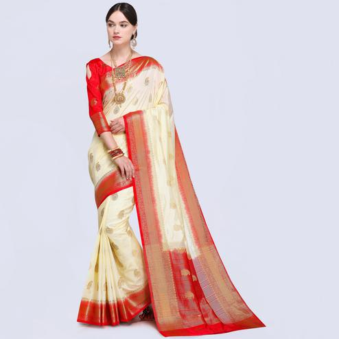 Ethnic Cream Colored Festive Wear Silk Saree