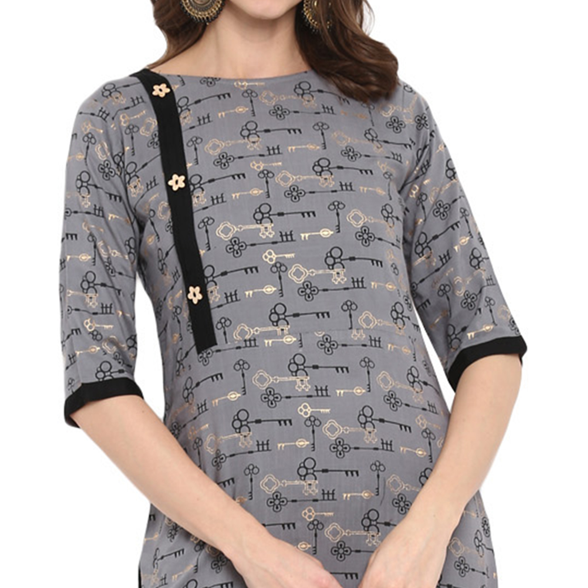 Excellent Grey Colored Casual Wear Long Rayon Kurti
