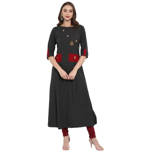 Ethnic Dark Grey Colored Casual Wear Long Cotton linen Kurti