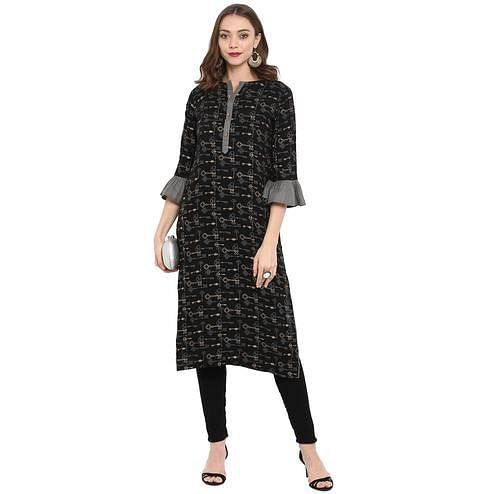 Starring Black Colored Casual Wear Long Rayon Kurti