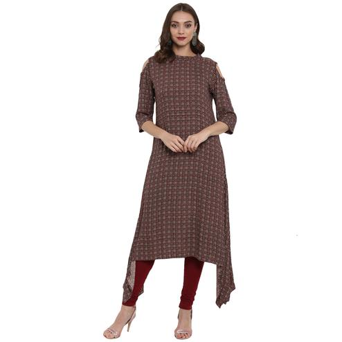 Surpassing Maroon Colored Casual Wear Long Rayon Kurti