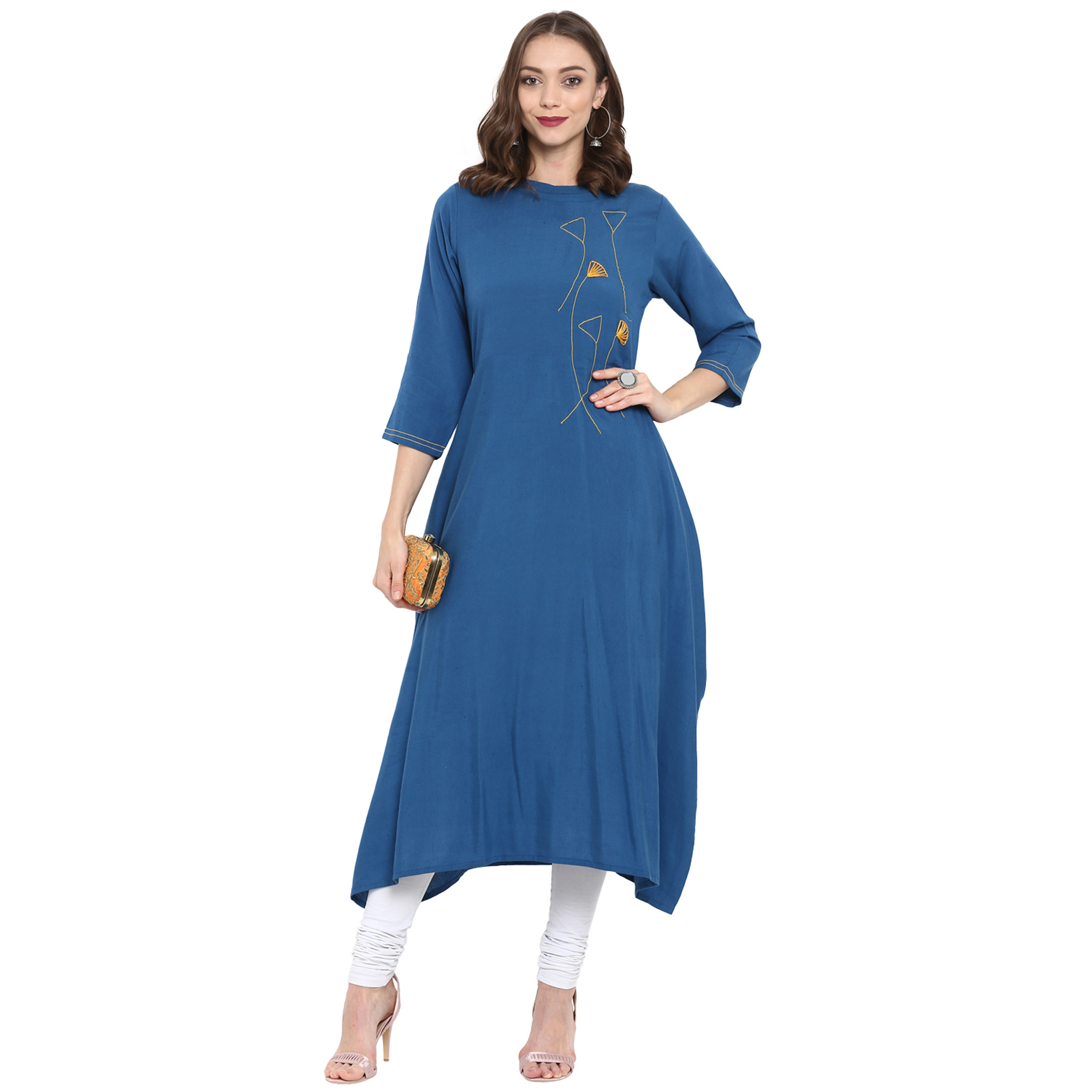 Entrancing Blue Colored Casual Wear Long Cotton linen Kurti