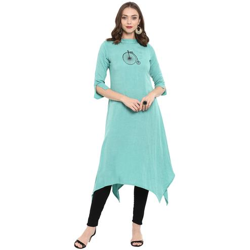 Imposing Aqua Blue Colored Casual Wear Long Cotton linen Kurti