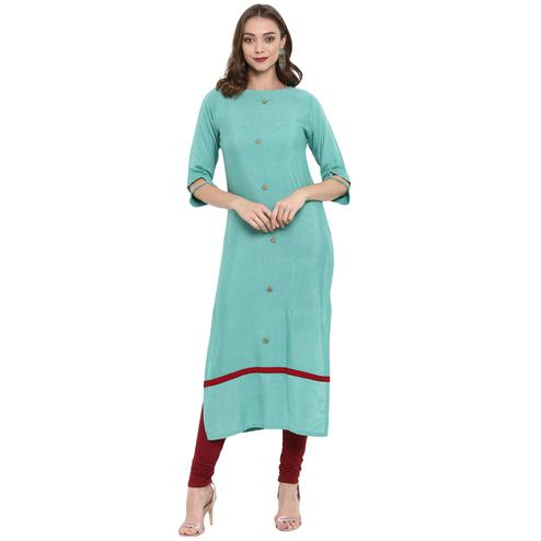 Blissful Aqua Blue Colored Casual Wear Long Cotton linen Kurti