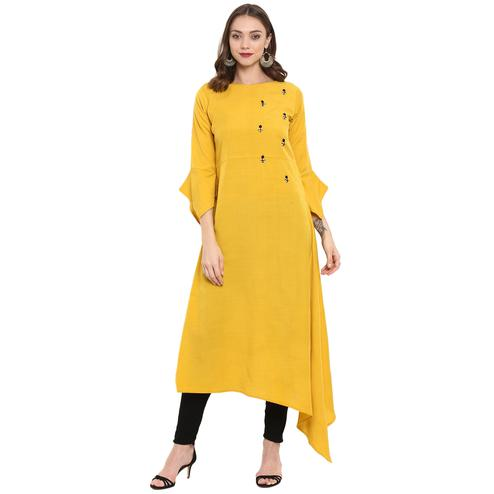 Ideal Yellow Colored Casual Wear Long Rayon Kurti