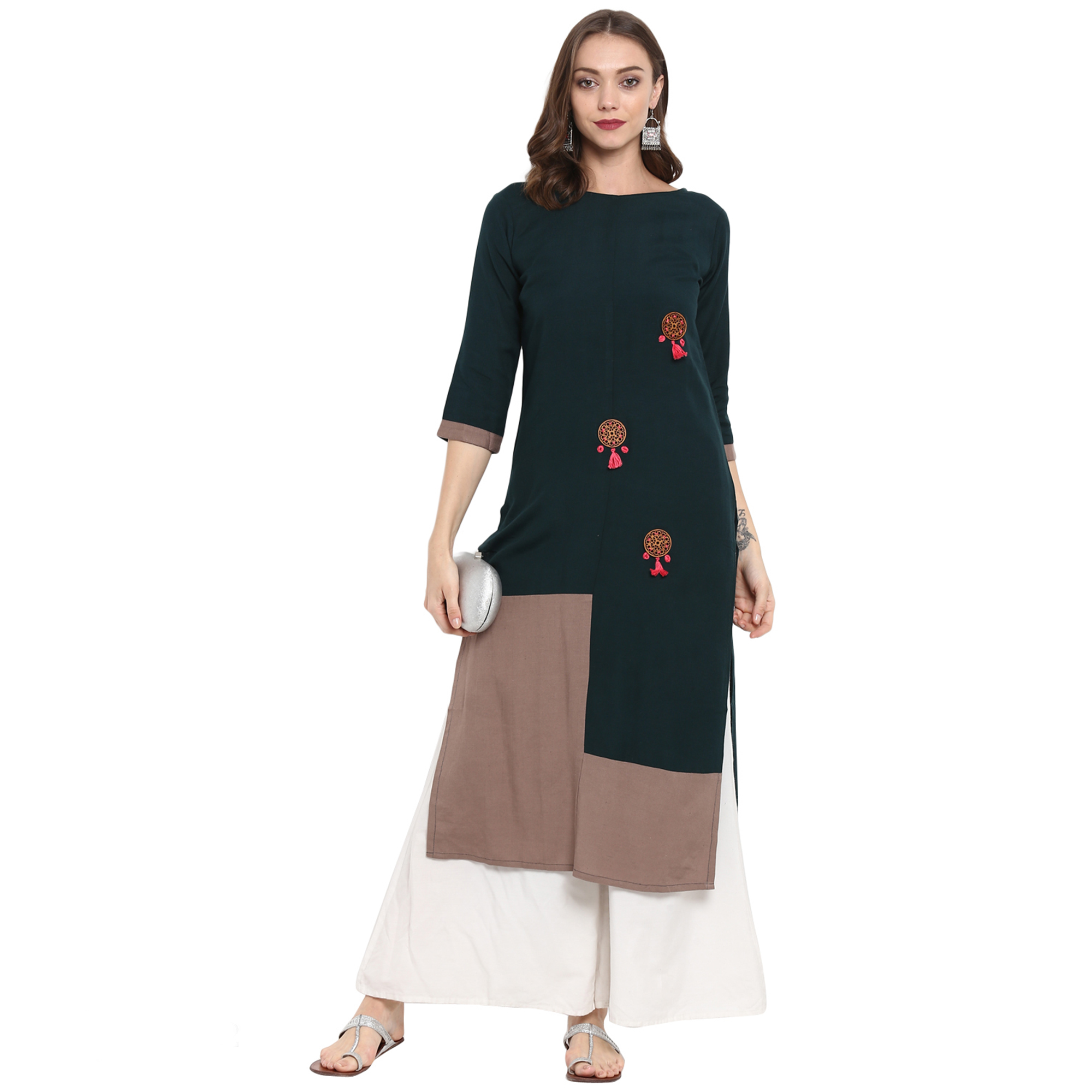 Engrossing Dark Teal Green Colored Casual Wear Long Cotton linen Kurti