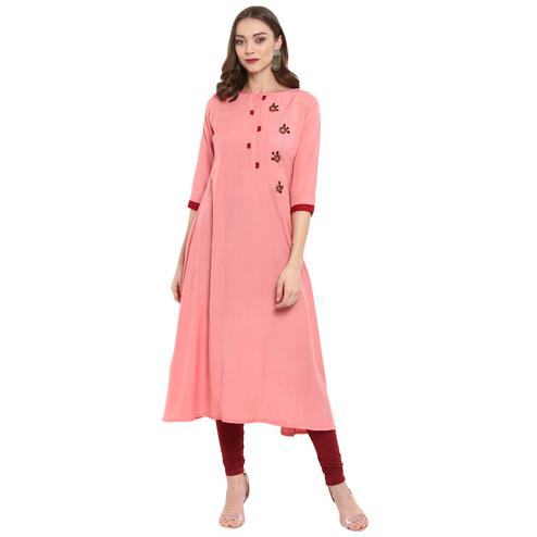 Fantastic Pink Colored Casual Wear Long Rayon Kurti