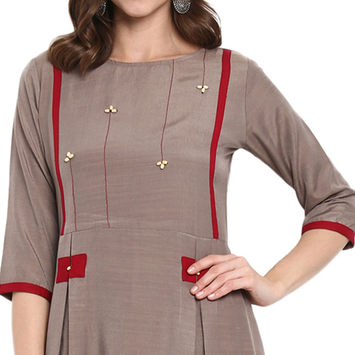 Staring Light Brown Colored Casual Wear Long Rayon Kurti