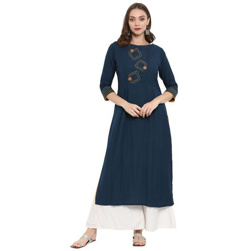 Stunning Teal Blue Colored Casual Wear Long Cotton linen Kurti