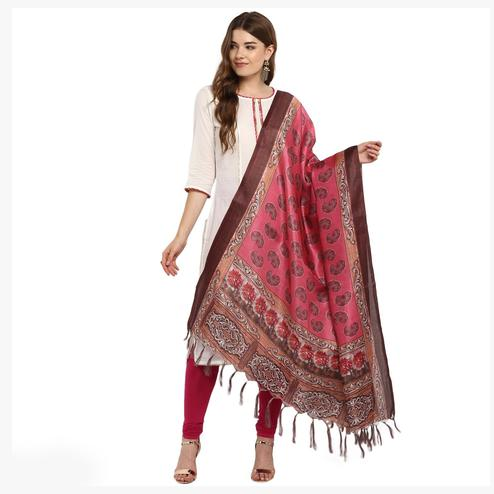 Adorable Pink-Brown Colored Digital Printed Khadi Silk Dupatta