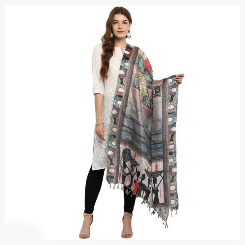 Attractive Grey Colored Digital Printed Khadi Silk Dupatta