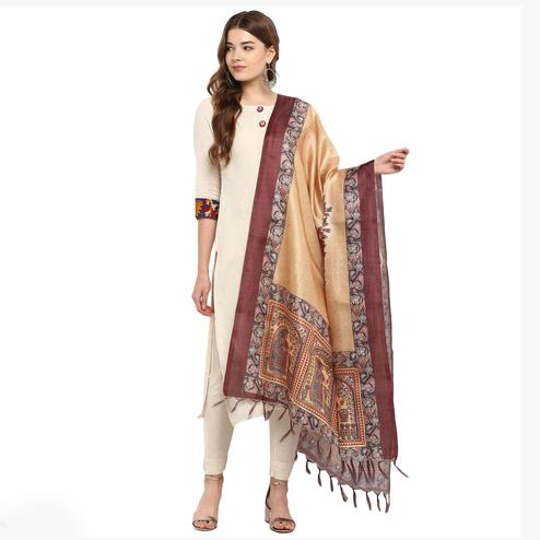 Beautiful Beige Colored Digital Printed Khadi Silk Dupatta
