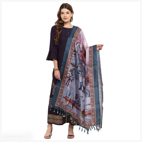 Glorious Light Lavender Colored Digital Printed Khadi Silk Dupatta