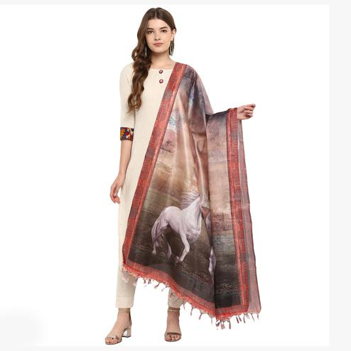 Graceful Beige-Brown Colored Digital Printed Khadi Silk Dupatta