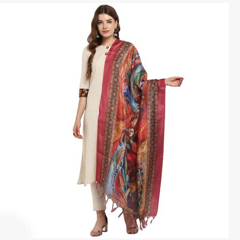 Lovely Multicolored Digital Printed Khadi Silk Dupatta