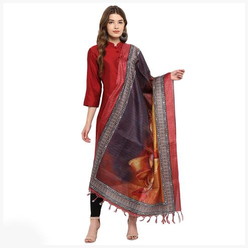 Pretty Violet-Golden Colored Digital Printed Khadi Silk Dupatta