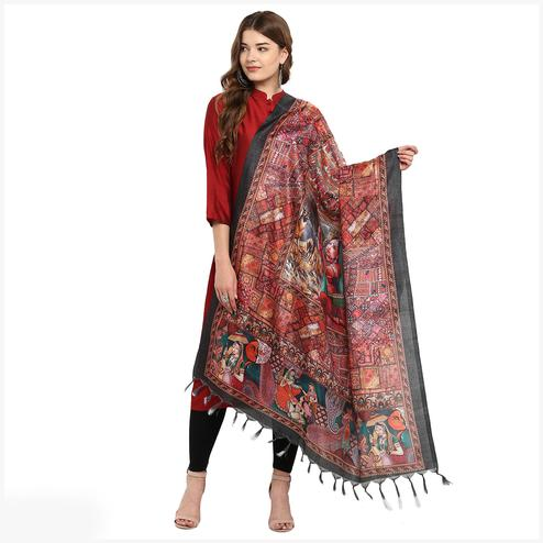 Charming Multicolored Digital Printed Khadi Silk Dupatta