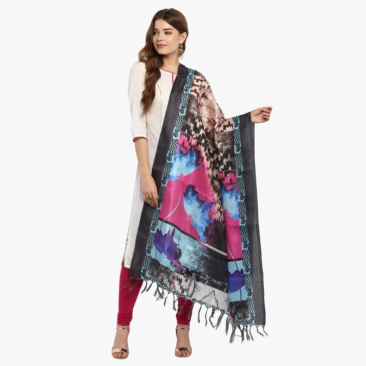 Stunning Multicolored Digital Printed Khadi Silk Dupatta