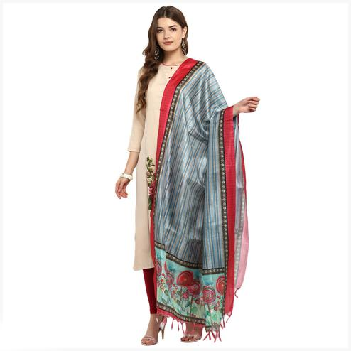 Marvellous Grey Colored Digital Printed Khadi Silk Dupatta