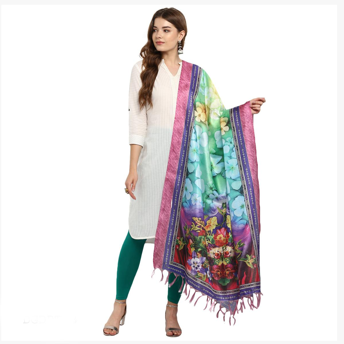 Mesmerising Multicolored Digital Printed Khadi Silk Dupatta