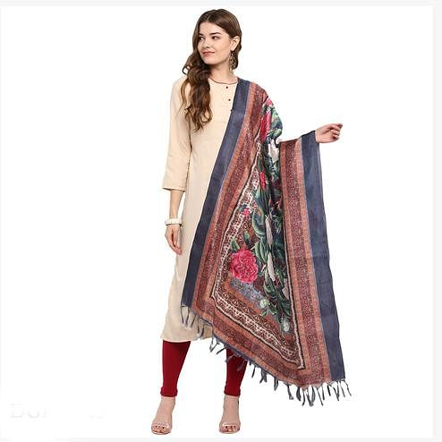 Ravishing Brown-Blue Colored Digital Printed Khadi Silk Dupatta
