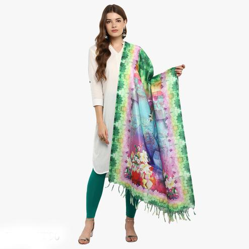 Eye-catching Multicolored Digital Printed Khadi Silk Dupatta
