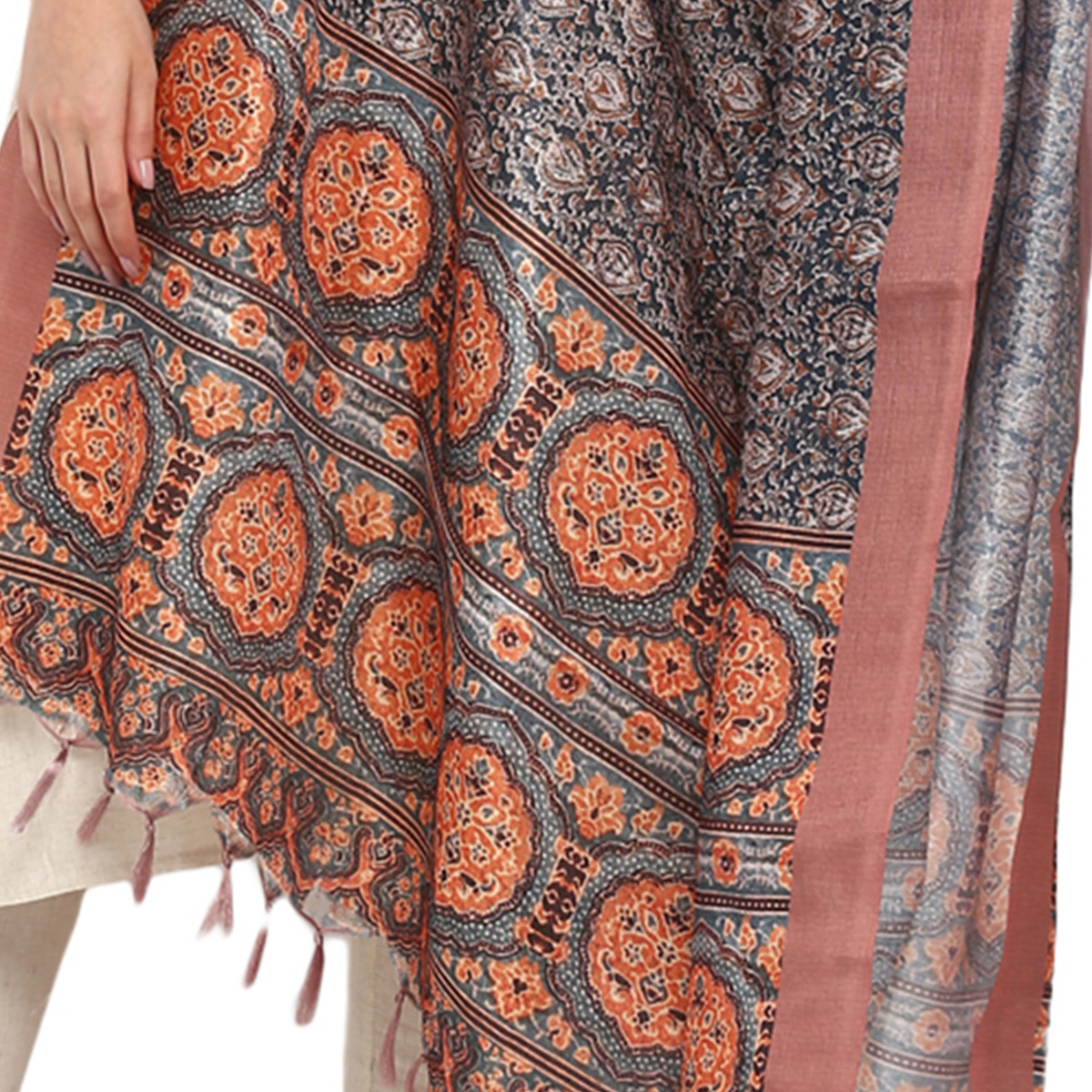 Amazing Grey-Brown Colored Digital Printed Khadi Silk Dupatta