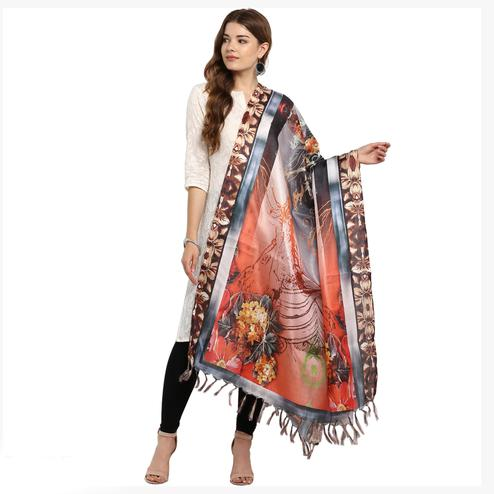 Exotic Multicolored Digital Printed Khadi Silk Dupatta