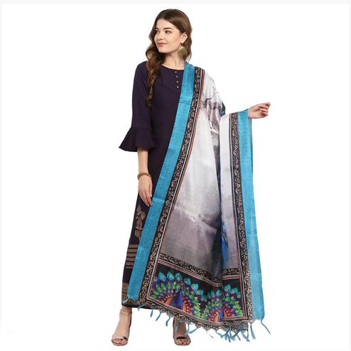 Majesty Shaded Grey Colored Digital Printed Khadi Silk Dupatta