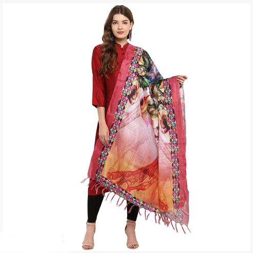 Preferable Multicolored Digital Printed Khadi Silk Dupatta