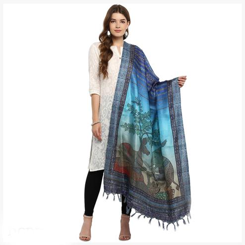 Adorning Shaded Blue Colored Digital Printed Khadi Silk Dupatta