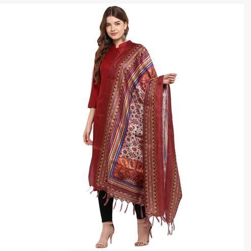 Prominent Peach-Maroon Colored Digital Printed Khadi Silk Dupatta