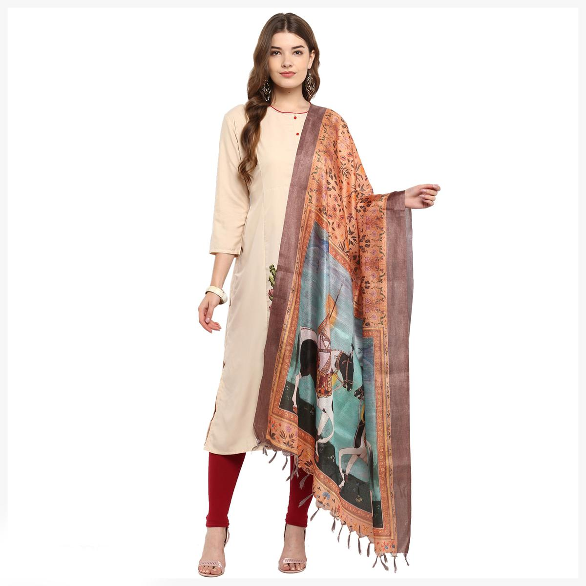 Deserving Peach Colored Digital Printed Khadi Silk Dupatta