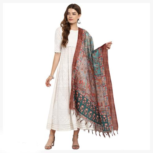 Extraordinary Brown Colored Digital Printed Khadi Silk Dupatta