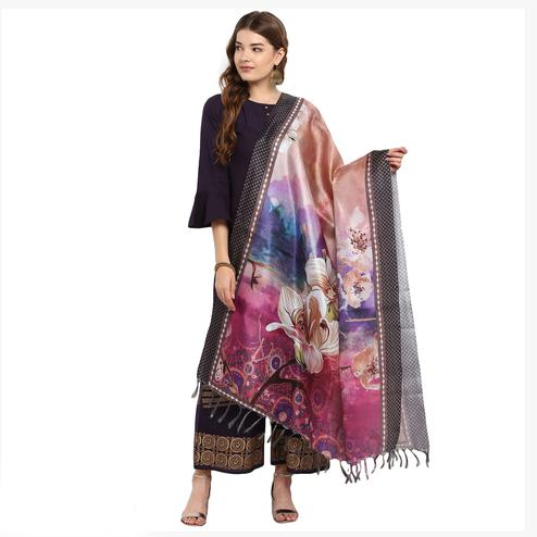 Energetic Multi Color Digital Printed Khadi Silk Dupatta