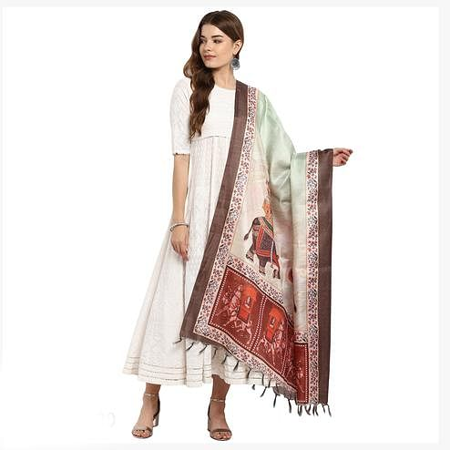 Glowing Cream-Brown Colored Digital Printed Khadi Silk Dupatta