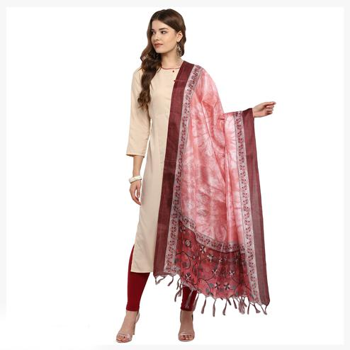 Capricious Pink Colored Digital Printed Khadi Silk Dupatta