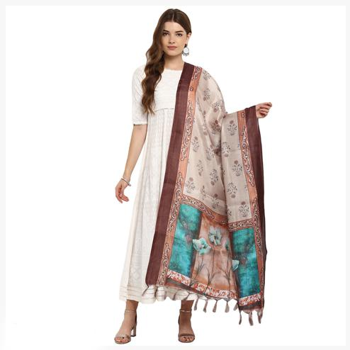Snazzy Cream Colored Digital Printed Khadi Silk Dupatta