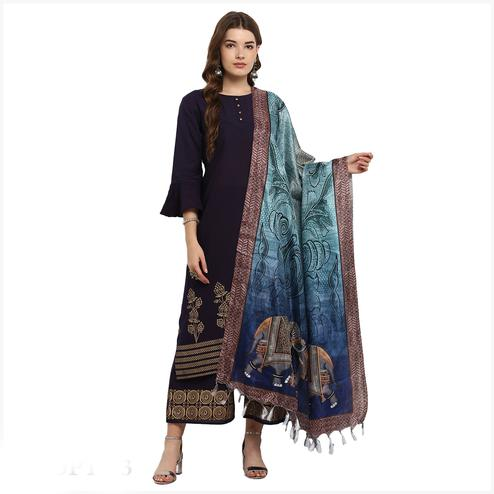 Awesome Blue Colored Digital Printed Khadi Silk Dupatta