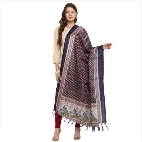 Precious Blue Colored Digital Printed Khadi Silk Dupatta