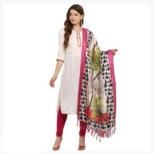 Ethnic Soft Pink Colored Digital Printed Khadi Silk Dupatta