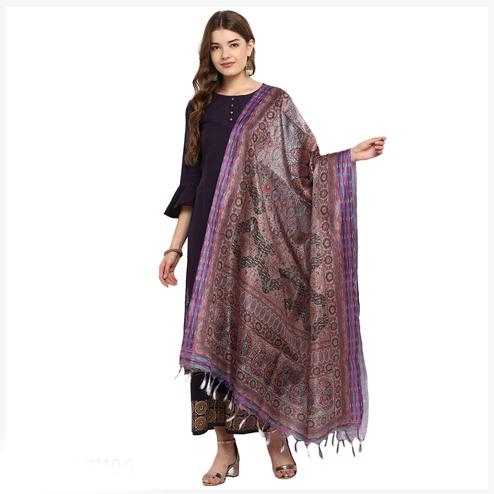 Starring  Brown Colored Digital Printed Khadi Silk Dupatta