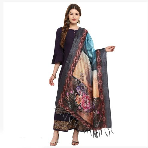 Surpassing Multicolored Digital Printed Khadi Silk Dupatta