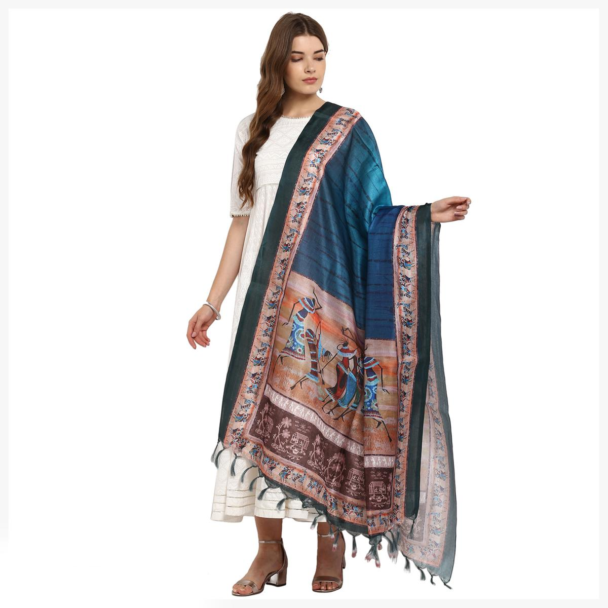 Entrancing Shaded Blue-Brown Colored Digital Printed Khadi Silk Dupatta