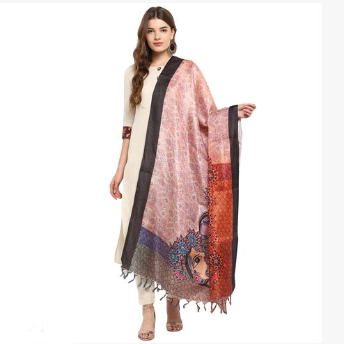Imposing Peach Colored Digital Printed Khadi Silk Dupatta