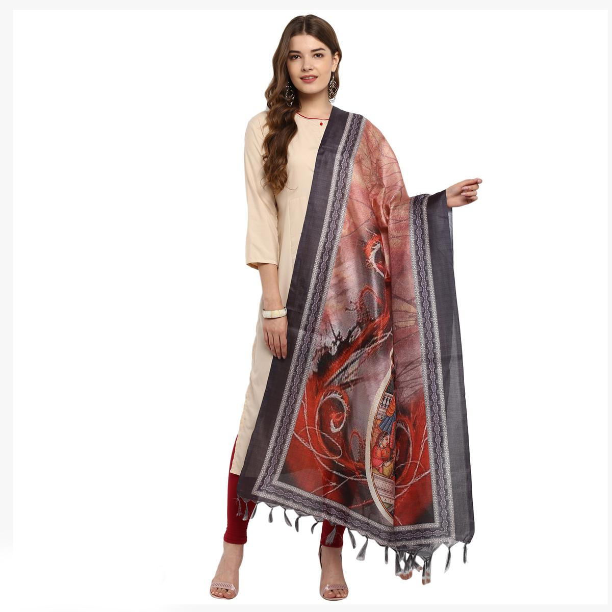 Blissful Grey-Peach Colored Digital Printed Khadi Silk Dupatta