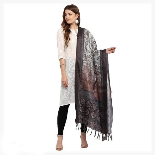 Ideal  Grey-Dark Brown Colored Digital Printed Khadi Silk Dupatta