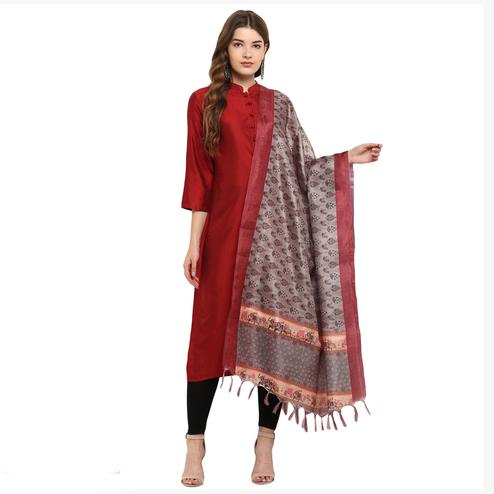 Engrossing Light Brown Colored Digital Printed Khadi Silk Dupatta