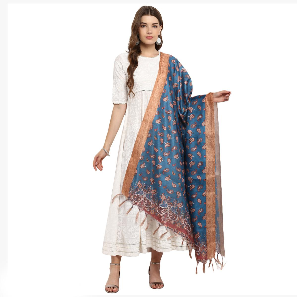 Fantastic  Blue Colored Digital Printed Khadi Silk Dupatta